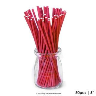 CAKE CRAFT | 6 INCH LOLLIPOP STICKS | RED | PACK OF 50
