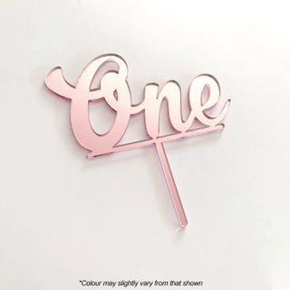 NUMBER ONE | ROSE GOLD MIRROR | ACRYLIC CAKE TOPPER