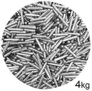 DRAGEES | METALLIC RODS | SILVER | SPRINKLES | 4KG BOX