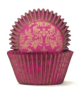 408 BAKING CUPS - PINK/GOLD HIGH TEA - 100 PIECE PACK