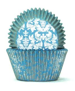 700 BAKING CUPS - BLUE/SILVER HIGH TEA - 100 PIECE PACK