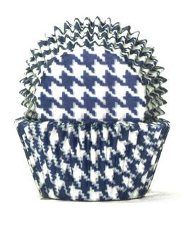 408 BAKING CUPS - BLUE HOUNDS TOOTH - 100 PIECE PACK