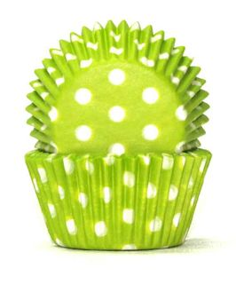 408 BAKING CUPS - LIME GREEN POLKA DOTS - 100 PIECE PACK