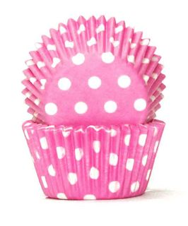 408 BAKING CUPS - PASTEL PINK POLKA DOTS - 100 PIECE PACK