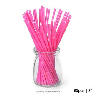 CAKE CRAFT | 6 INCH LOLLIPOP STICKS | BRIGHT PINK | PACK OF 50
