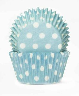 408 BAKING CUPS - PASTEL BLUE POLKA DOTS - 100 PIECE PACK