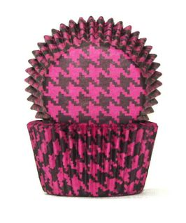 408 BAKING CUPS - PINK/BLACK HOUNDS TOOTH - 100 PIECE PACK