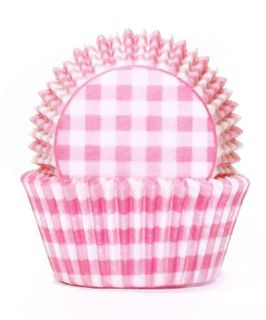700 BAKING CUPS - PASTEL PINK GINGHAM - 100 PIECE PACK