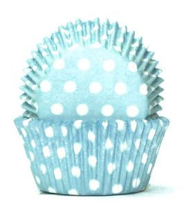 700 BAKING CUPS - PASTEL BLUE POLKA DOTS - 100 PIECE PACK