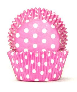 700 BAKING CUPS - PASTEL PINK POLKA DOTS - 100 PIECE PACK