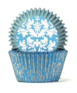 408 BAKING CUPS - BLUE/SILVER HIGH TEA - 100 PIECE PACK