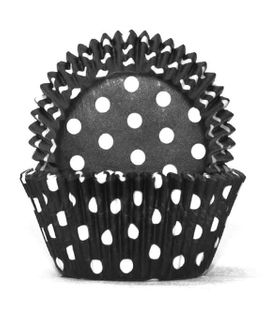 700 BAKING CUPS - BLACK POLKA DOTS - 100 PIECE PACK