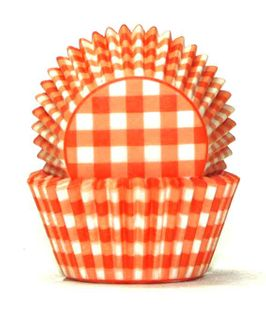 408 BAKING CUPS - ORANGE GINGHAM - 100 PIECE PACK