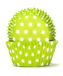 700 BAKING CUPS - LIME GREEN POLKA DOTS - 100 PIECE PACK