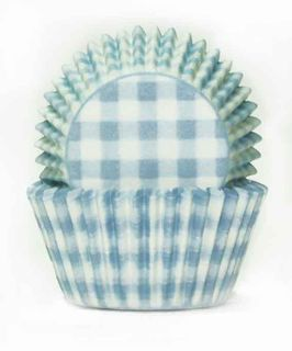408 BAKING CUPS - PASTEL BLUE GINGHAM - 100 PIECE