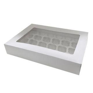 DISPLAY CUPCAKE BOX   24 HOLES   STANDARD   3 INCH HIGH   WHITE   UNCOATED CARDBOARD