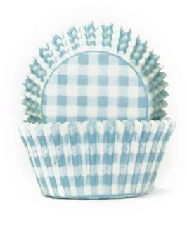 700 BAKING CUPS - PASTEL BLUE GINGHAM - 100 PIECE PACK