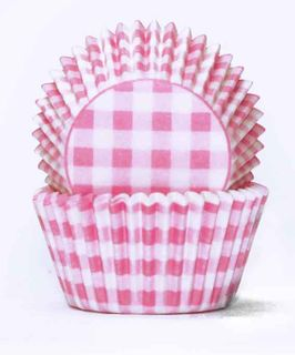 408 BAKING CUPS - PASTEL PINK GINGHAM - 100 PIECE PACK