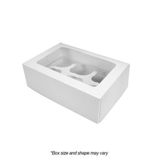 DISPLAY CUPCAKE BOX   6 HOLES   MINI   WHITE   UNCOATED CARDBOARD