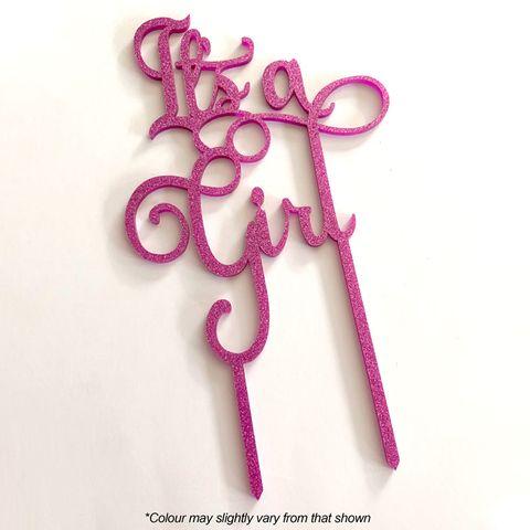 IT'S A GIRL PINK GLITTER ACRYLIC CAKE TOPPER