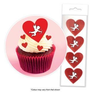 CAKE CRAFT | CUPID HEARTS | WAFER TOPPERS | PACKET OF 16