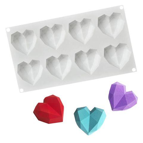 8 MINI 3D GEO HEARTS   SILICONE MOULD