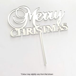 MERRY CHRISTMAS SILVER MIRROR ACRYLIC CAKE TOPPER