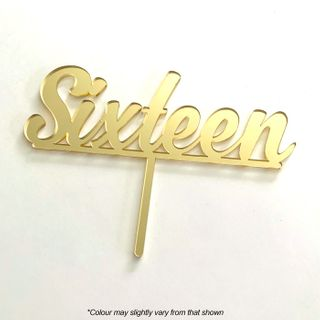 NUMBER SIXTEEN GOLD MIRROR ACRYLIC CAKE TOPPER