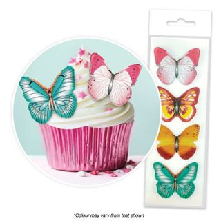 CAKE CRAFT | MIXED BUTTERFLY | WAFER TOPPERS | PACKET OF 16