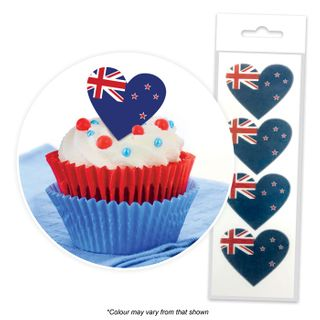CAKE CRAFT | NEW ZEALAND FLAG HEARTS | WAFER TOPPERS | PACKET OF 16