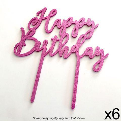 CAKE CRAFT | HAPPY BIRTHDAY | PINK GLITTER | ACRYLIC TOPPER | 6 PACK