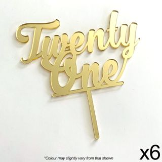 CAKE CRAFT | TWENTY ONE | GOLD MIRROR | ACRYLIC TOPPER | 6 PACK