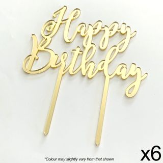 CAKE CRAFT | HAPPY BIRTHDAY | GOLD MIRROR | ACRYLIC TOPPER | 6 PACK