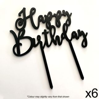 CAKE CRAFT | HAPPY BIRTHDAY | BLACK | ACRYLIC TOPPER | 6 PACK