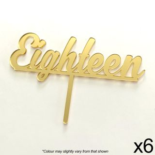 CAKE CRAFT | EIGHTEEN | GOLD MIRROR | ACRYLIC TOPPER | 6 PACK