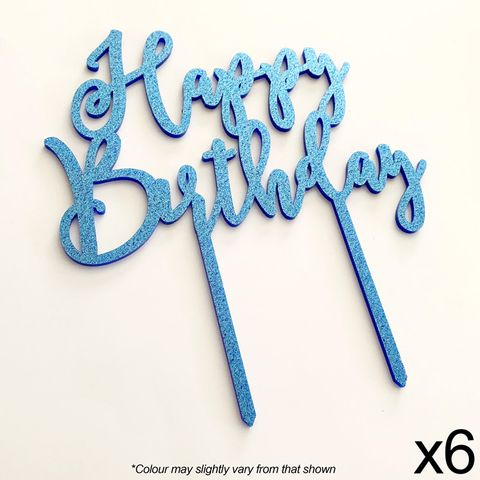 CAKE CRAFT | HAPPY BIRTHDAY | BLUE GLITTER | ACRYLIC TOPPER | 6 PACK