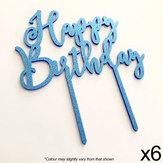 CAKE CRAFT | HAPPY BIRTHDAY | BLUE GLITTER | ACRYLIC TOPPER | 6 PACK