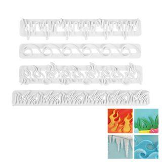WAVES | FIRE | ICE | GRASS | IMPRESSION CUTTER SET | 4 PIECES