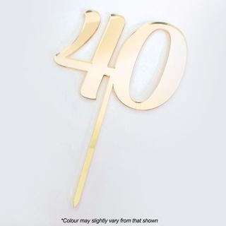 CAKE CRAFT | #40 | 9CM | GOLD MIRROR | ACRYLIC CAKE TOPPER