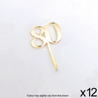 CAKE CRAFT | #80 | 3.5CM | GOLD MIRROR | ACRYLIC CUPCAKE TOPPER | 12 PACK