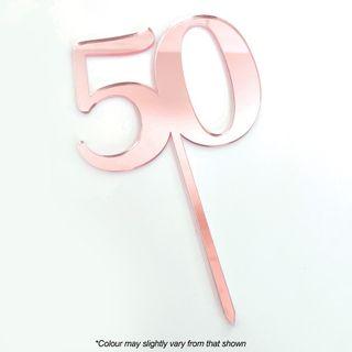 CAKE CRAFT | #50 | 9CM | ROSE GOLD MIRROR | ACRYLIC CAKE TOPPER
