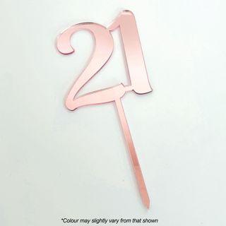 CAKE CRAFT | #21 | 9CM | ROSE GOLD MIRROR | ACRYLIC CAKE TOPPER