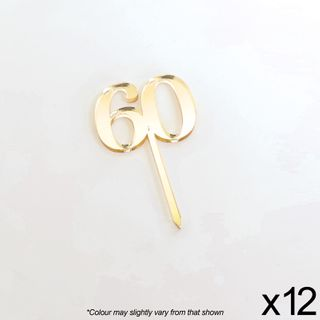 CAKE CRAFT | #60 | 3.5CM | GOLD MIRROR | ACRYLIC CUPCAKE TOPPER | 12 PACK
