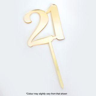 CAKE CRAFT   #21   9CM   GOLD MIRROR   ACRYLIC CAKE TOPPER
