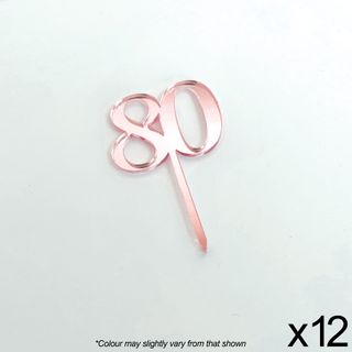 CAKE CRAFT | #80 | 3.5CM | ROSE GOLD MIRROR | ACRYLIC CUPCAKE TOPPER | 12 PACK