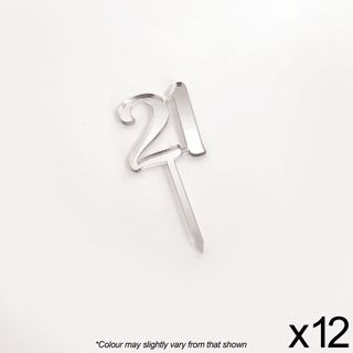 CAKE CRAFT | #21 | 3.5CM | SILVER MIRROR | ACRYLIC CUPCAKE TOPPER | 12 PACK