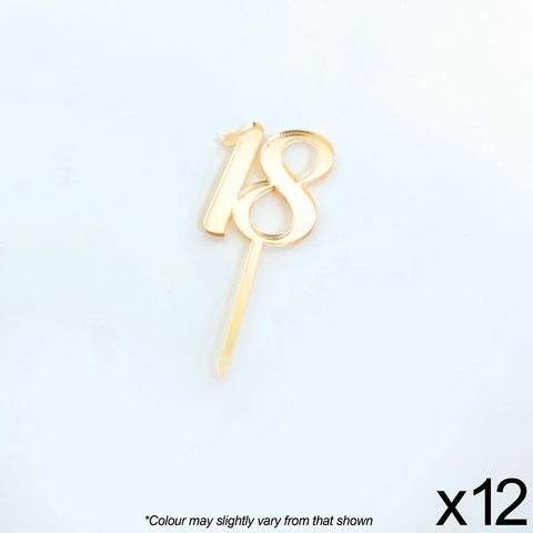 CAKE CRAFT | #18 | 3.5CM | GOLD MIRROR | ACRYLIC CUPCAKE TOPPER | 12 PACK