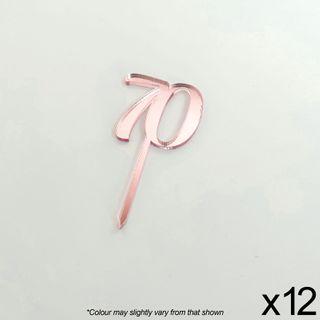 CAKE CRAFT | #70 | 3.5CM | ROSE GOLD MIRROR | ACRYLIC CUPCAKE TOPPER | 12 PACK
