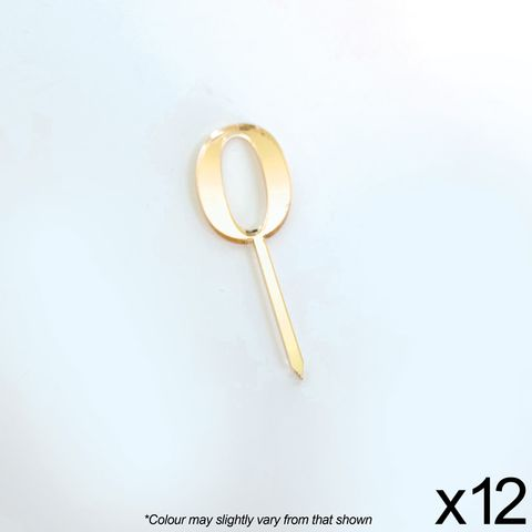 CAKE CRAFT | #0 | 3.5CM | GOLD MIRROR | ACRYLIC CUPCAKE TOPPER | 12 PACK