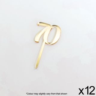 CAKE CRAFT | #70 | 3.5CM | GOLD MIRROR | ACRYLIC CUPCAKE TOPPER | 12 PACK